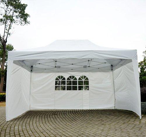 Homcom Tonnelle tente de reception pliante pavillon chapiteau barnum 3x4,5m blanc cotes demontables 71W