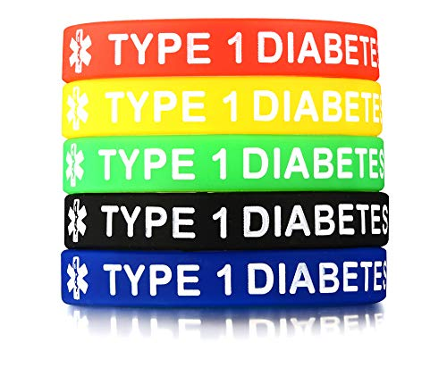 Vnox 5 Stück Silikon Gummi Typ 1 Diabetes Medical Alert ID Armband Notfall Armband,5 Farben (Typ-1-diabetes-schmuck)