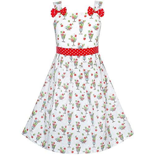 Mädchen Kleid Eisbecher Ice Sahne Bogen Binden Sommer Gr. 86-92 (Kleinkind Boutique, Kleider)