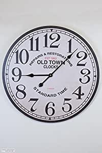 HORLOGE MURALE OLD TOWN NOSTALGIE TRÈS GRANDE 30CM - Tinas Collection