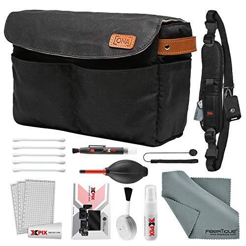 ONA Roma Kamera-Einsatz und Taschen-Organizer, mit Schultergurt und Reinigungsset, Schwarz -