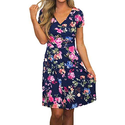 Robe de femme,Jimma Femmes robe floral été Vintage a-line manches courtes robe Bleu