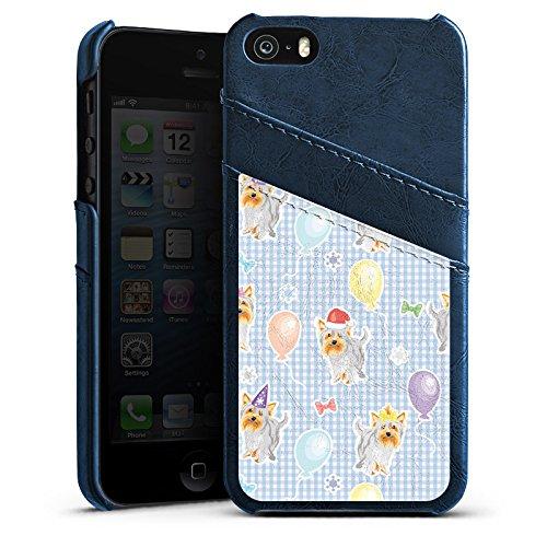 Apple iPhone SE Housse Outdoor Étui militaire Coque Chiens Yorkshire Anniversaire Étui en cuir bleu marine