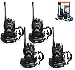 4pcs Baofeng Walkie Talkie, BF-888S Two Way Radio UHF Handheld 400-470MHz CTCSS/DCS Flashlight with Earpiece Programming Cable Walkie Talkies(4 Pack)