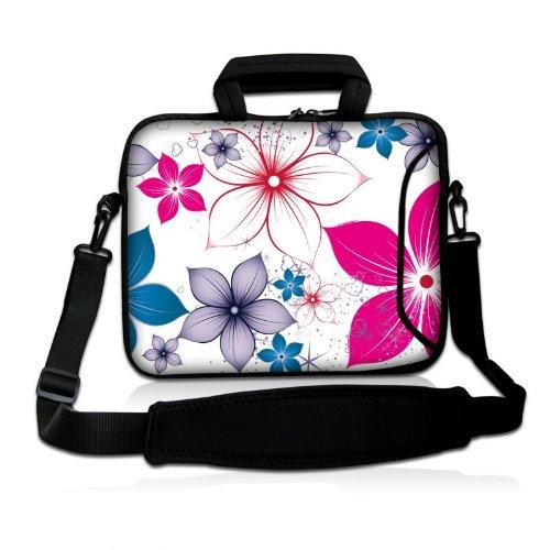Sidorenko Designer Notebooktaschen in zwei Größen erhältlich 15 Zoll - 15,6 Zoll / 17 Zoll - 17,3 Zoll // mit Tragegurt + Tragegriff inkl. Zusatzfach für Maus und Ladegerät an der Vorderseite der Tasche (Flugzeug Ladegerät Ipad)