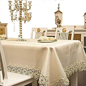 JUNGEN Tischtuch Tischdecken mit Spitze Abwaschbar Tischdecken Outdoor-Tischdecken für Hotel Bankett Restaurant Küche Wohnaccessoires Size 130X175CM