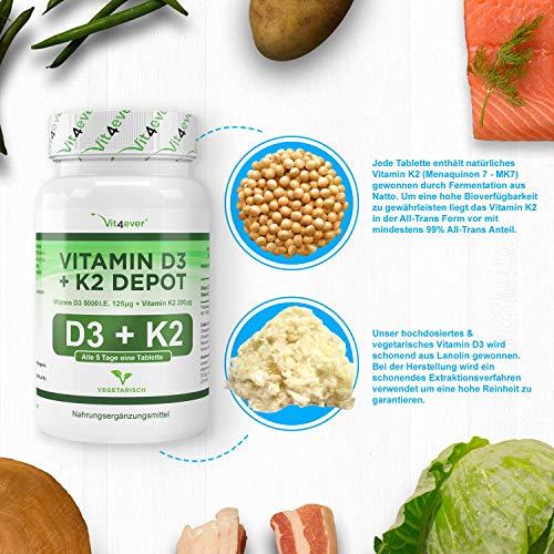 Vitamin D3 5000 I.E + Vitamin K2 200mcg Menaquinon MK7 Depot – 180 Tabletten – Alle 5 Tage eine Tablette, Vegetarische Tabletten Vit4ever - 5