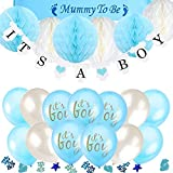 TopDeko Babyparty Deko Jungen, Baby Junge Deko Baby Shower Boy Deko mit It's A Boy Girlande, 6pcs Wabenbälle, Mummy to Be Schärpe, Konfetti Babyparty, 15pcs Luftballons für Baby Shower