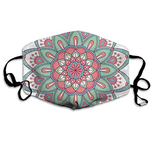 Mouth Mask Bohemian Mandala Floral Mystery Design Earloop Mouth Masks - Adjustable Elastic Strap for Cycling Outdoor, Anti Virus Dustproof Respirator, Half Face Mouth Mask/Cover Paper Tape Kit