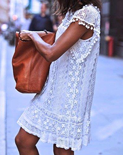 des femmes Lady dentelle blanche robe sans manches Decontractee mini robe d'ete Blanc