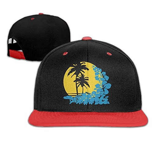 Tropical Palm Leaf Sunset Men's Adjustable Snapback Hip Hop Dad Hat Cap Flat Brim White Baseball Cap for Men Women (Palm Leaf White)