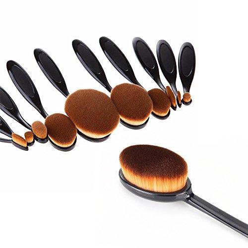 Set 11pcs Pinceau de Maquillage Ovale Fond de Teint Outil Cosmétique Noir