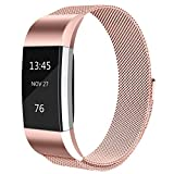 Tobfit Fitbit Charge 2 Bracelet Acier Inoxydable Milanaise Un Replacement Bracelet Fitbit Charge 2 (*Rose Pink, Small)