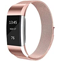 Tobfit For Fitbit Charge 2 Strap (2 Sizes), Milanese Mesh Magnetic Clasp Stainless Steel Replacement Strap for Fitbit Charge 2
