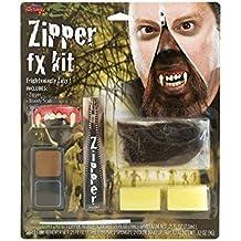 Peeks Horror FX Halloween Werewolf Zipper Fake Teeth Hair Face Paint Makeup Kit