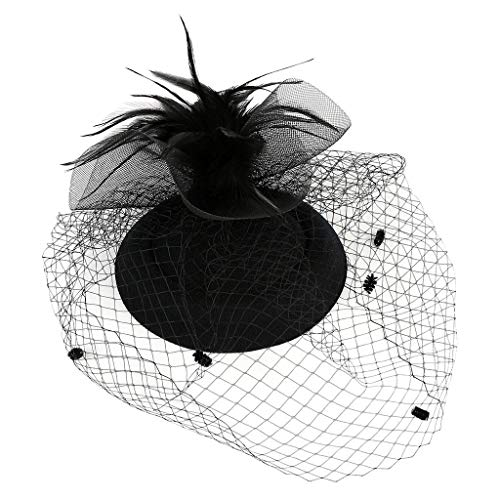 ck Damen Schleier Cover Haarband Hanfgarn Elegant Braut Hair Clip Accessoires Vintage Palast Royal Ascot Flapper Great Gatsby Pearl Tea Party Jockey Cocktail Stirnband ()