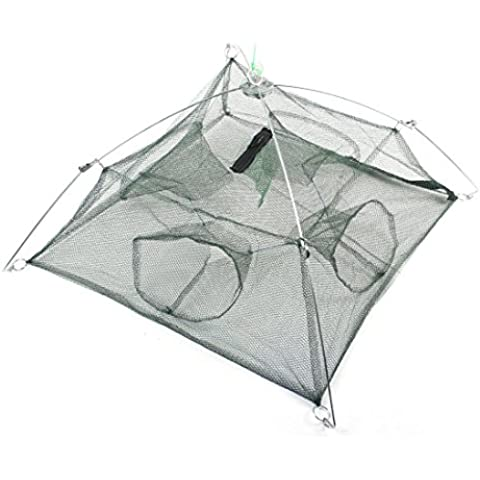 110cmx110cm plegables Señuelos cangrejo pesca del molde de paraguas Dip Net Verde Oscuro
