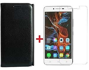 YuniKase COMK5BT2FLA (Combo Offer) Leather Finish Flip cover + Premium Tempered Glass screen protector for Lenovo K5 / Lenovo K5 Plus,(Black)