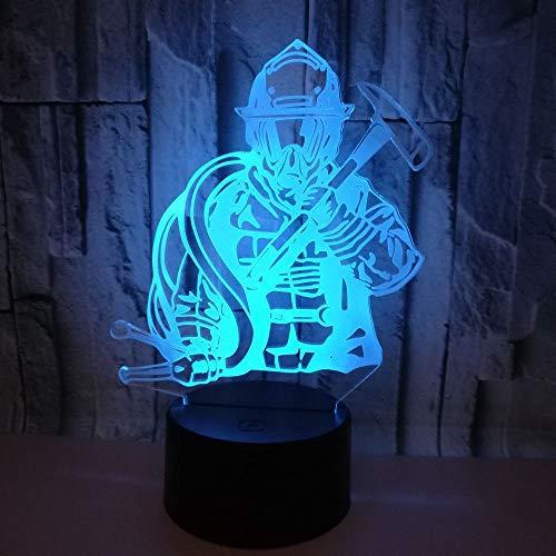 achtlicht LED 7 Farben Ändern Beleuchtung 3D Kreative Dekorative Tischleuchte Schreibtisch Schlafzimmer Dekoration Geschenke Ideen Für Kinder Geburtstag, Feuerwehrmänner ()