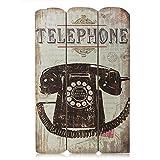 ducomi® Shabby–Kennzeichen Vintage aus Holz für Wand, Kennzeichen Beleuchtung Wand mit Drucke Retro–Rahmen Shabby perfekt für Haus 38x 25cm Telephone