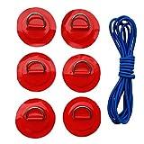 B Baosity 6er Pack Edelstahl D-Ring mit Anti-Rutsch Pads Patches mit Elastische Schnur Stretch Faden für PVC aufblasbar Boot Kajak Sup Paddel - Rot