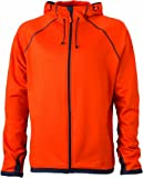James & Nicholson Herren Jacke Fleecejacke Men's Hooded orange (dark-orange/carbon) X-Large