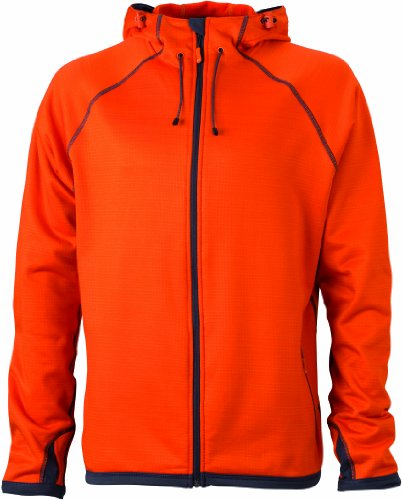 James & Nicholson Herren Jacke Fleecejacke Men's Hooded orange (dark-orange/carbon) X-Large (Kapuzen-fleece-weste)