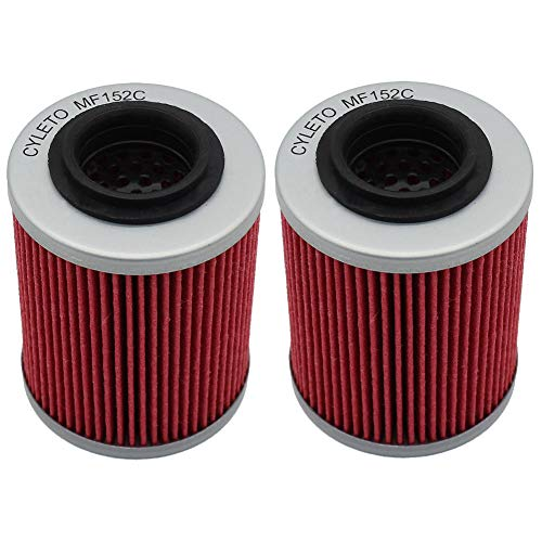 Cyleto Ölfilter for CAN-AM OUTLANDER 650 2009 2010 2011 2012 2013 2014 2015 2016 / OUTLANDER 650 6X6 XT 2015 / OUTLANDER 650 HO EFI 4X4 2007 2008 (2 Stück) - 2013 Can Outlander Am
