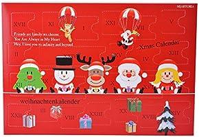 MJARTORIA Adventskalender Schmuck Weihnachtskalender Adventszeit mit 24 Überraschungen XMAS Modeschmuck Kette Ohrring Ringe Armband