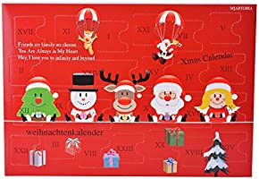MJARTORIA Adventskalender Schmuck Weihnachtskalender Adventszeit mit 24 Überraschungen XMAS Modeschmuck Choker Kette Ohrring Armband Click Button Charms