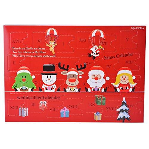 MJARTORIA Adventskalender Schmuck Weihnachtskalender Adventszeit mit 24 Überraschungen XMAS Modeschmuck Choker Kette Ohrring Armband Click Button Charms (Rot Davidshirsch)