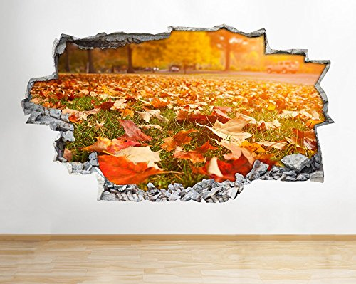 b141-autumn-scene-leaves-seasons-nature-wall-decal-poster-3d-art-stickers-vinyl-medium-52x30cm