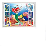 Children Kids Wall Stickers Wall Decor Ariel la sirenetta principessa Dimensioni 60cm x 46