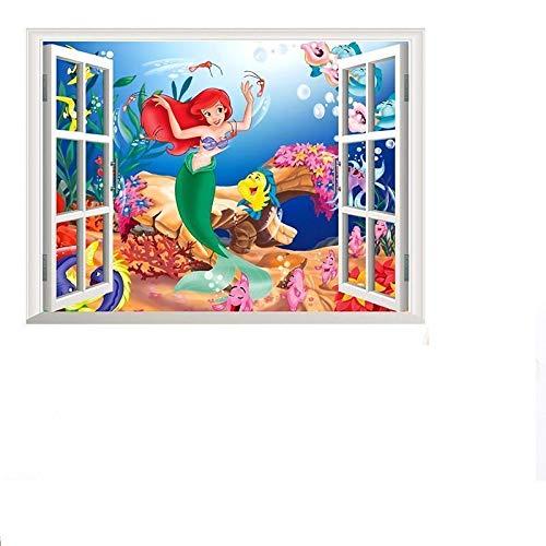 Kinder Wandtattoo Decor Ariel die kleine Meerjungfrau Prinzessin Größe 60cm x 46cm