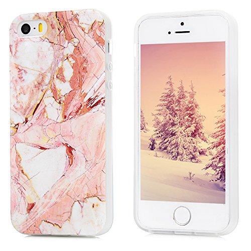 iPhone 5S Marmor Hülle, KASOS Marble Handyhülle : Silikon Case Weich TPU Huelle mit IMD Technologie für iPhone SE Rose weiß