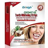 Grinigh 28 Bandes de Blanchiment des Dents Kit de Blanchiment Dentaire avec Huile de Noix de Coco Teeth Whitening Strips de la Technologie Avancée Anti-dérapant Qualité Professionnelle Efficacité Prouvée 14 Treatments