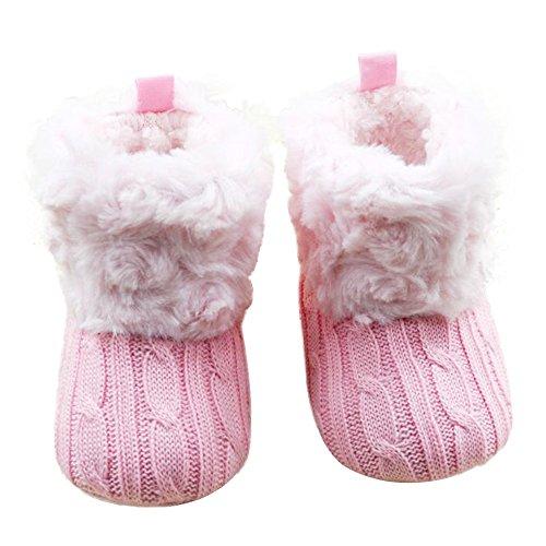 Babyschuhe Gestrickte Schuhe Lauflernschuhe Schnee Stiefel weiche Krippe Schuhe Kleinkind Stiefe Moginp(Pink,6-12 Monate (Kleinkind-schnee-stiefel 7)
