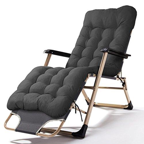 Schwarz Schmiedeeisen Patio-möbel (XUEYAN Patio faltende Stühle, die mit Kissen für schwere Leute-nullstrand-Strand-Rasen-kampierender tragbarer Stuhl des Schwerkraft-freien Raumes, 200kg stützen (Farbe : Schwarz))
