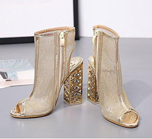 KHSKX-Le Golden 8.5Cm Cool Les Bottes Les Femmes Sont Bouche De Poisson Chaussures Souliers À Talons Hauts Gros Été Transparent De Cristal À Court De Bottes Forty