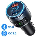 OMORC FM Transmitter Auto Bluetooth, 2019 Upgraded Bluetooth FM Transmitter Unterstützt Bluetooth V5.0 / QC 3.0, Kfz Radio Adapter für Auto Freisprecheinrichtung mit 2 USB Ports / LED Backlit