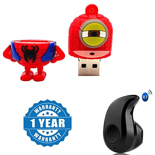 Captcha Cartoon Super Hero 100% real 8GB USB Pen Drive in Batman, hulk, spider-man, captain America, Minions Design With S530 Stylish Mini Wireless Bluetooth In-Ear V4.0 Handfree Compatible with Xiaomi, Lenovo, Apple, Samsung, Sony, Oppo, Gionee, Vivo Smartphones (1 Year Warranty)  available at amazon for Rs.699