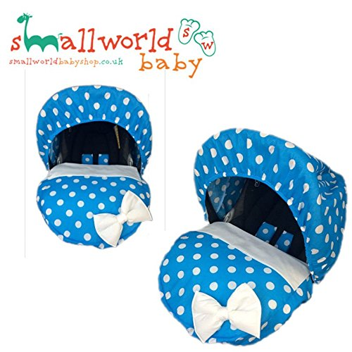 personalisierbar blau Polka Dot Baby Auto Sitz, (Auto Neugeborenen Sitzbezüge)