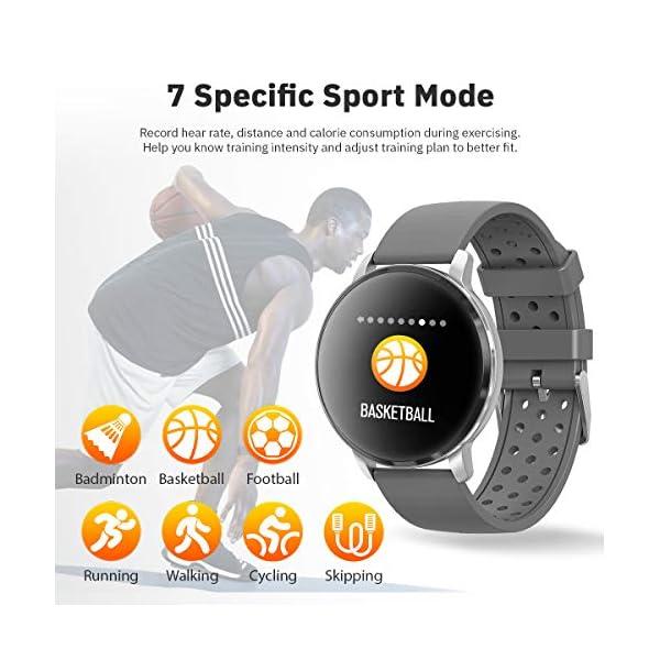 CatShin Smart Watch Activity Tracker con monitor de frecuencia cardíaca - CS06 IP68 Impermeable Multifunción Ronda Fitness Bluetooth Reloj deportivo para hombres y mujeres,compatible con iOS y Android 5