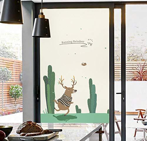 Rsots Mattierte Fensterfolien 3D Glasfolie Glas aufkleberReindeer Bedroom Window Bathroom Sliding Door Matte Static Light Opaque Glass Stickers @60x90cm -