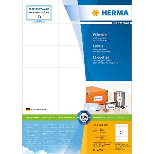 Herma 4668 Etiketten Aufkleber (70 x 42,3 mm auf DIN A4 Premium Papier matt) 2.100 Stück, 100 Blatt, weiß, bedruckbar, selbstklebend