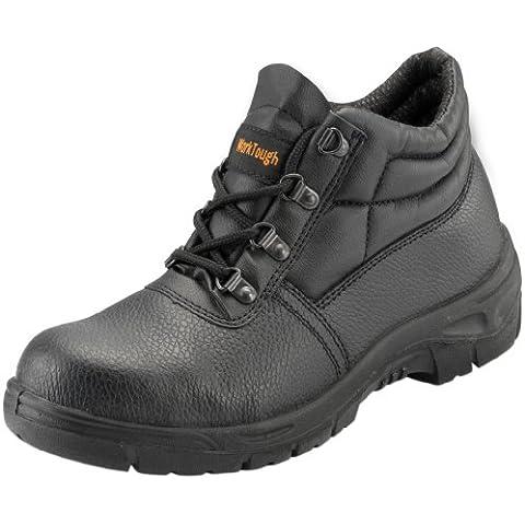 WorkTough 101SM04 - Scarpe di sicurezza con intersuola in acciaio, modello chukka, misura 37, colore: Nero