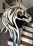 A. Weyck Tools Pferd Silhouette Pferde Kopf Pferdesilhouette Metall Stahl 75x50cm (Verkehrsweiß RAL 9016)