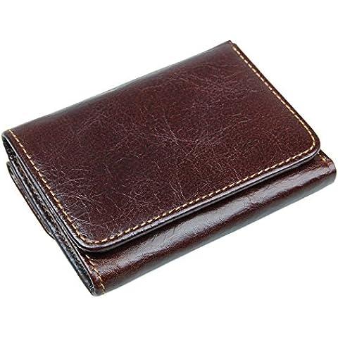 ITSLIFE da uomo RFID in Pelle Trifold Portafoglio con tasca (Cioccolato Photo)