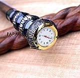 Klassischer Stil viktorianischer Messing Griff Armbanduhr Holz Spirale Gehstock Geschenk