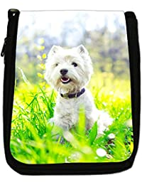 West Highland Terrier Westie Dog Medium Black Canvas Shoulder Bag - Size Medium